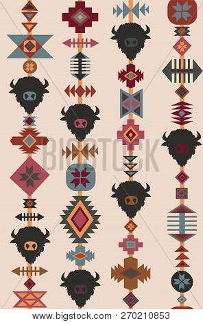 Vector Tribal Seamless Pattern With Bull Skull And Decorative Ethnic Ornament. Boho Style Background