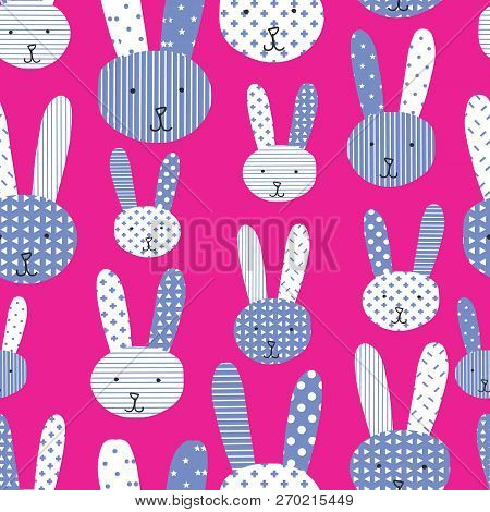Bunny Background. Cute Bunnies Blue White Pink Seamless Pattern. Perfect For The Kids Market - Would