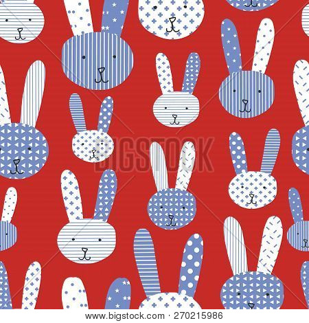Bunny Background. Cute Bunnies Blue White Red Seamless Pattern. Perfect For The Kids Market - Would