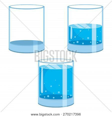 Vector Illustration Of Water Glasses And Blue