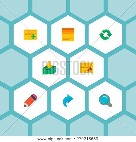Set Of Task Manager Icons Flat Style Symbols With Pencil, Task List, Search And Other Icons For Your