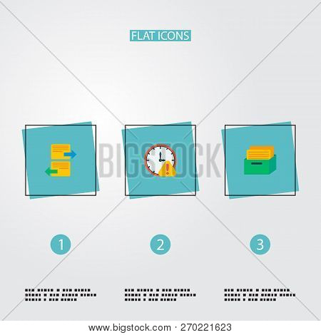 Set Of Task Manager Icons Flat Style Symbols With Task Box, Deadline, Arrange Task And Other Icons F