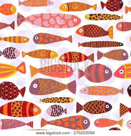 Tropical Colorful Exotic Fish Swarm Seamless Pattern. School Of Fish Background. Kids Beach Vacation