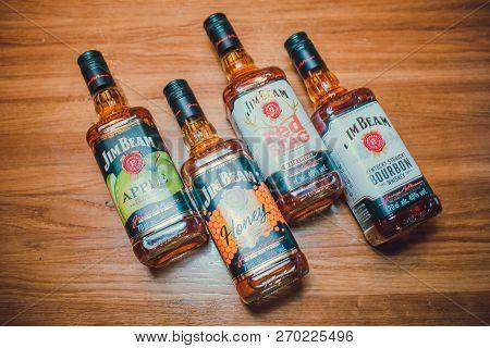 Ufa, Russia, Darling Bar, 20 November, 2018: Jim Beam Kentucky Bourbon Whiskey On Store Shelf. Jim B