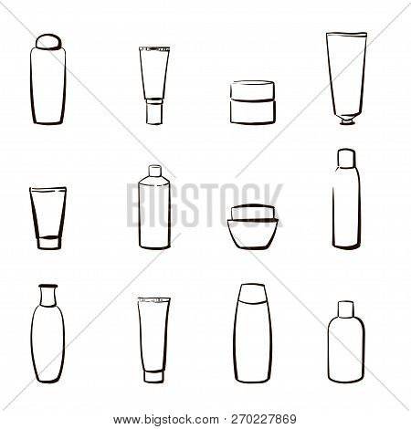 Set Of Icons With Cosmetics. Hands Drawn Vector Illustrations Of Bottles And Containers With Cream,