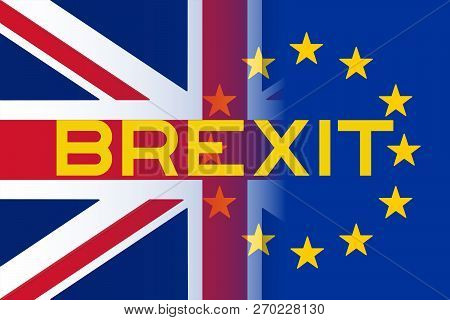 European Union And British Union Jack Flag Brexit Theme Illustration