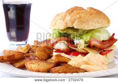 Chicken And Bacon Burger And Wedges