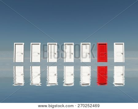 Surreal digital art. Make a Choice. Seven white door with one red door. 3D rendering