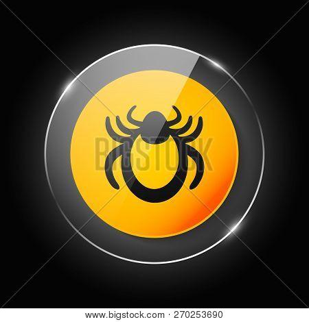 Ticks Warning Mite Bug Sign. Encephalitis Parasite Icon. Beetle Tick Danger Crossed Sign Vector Flat