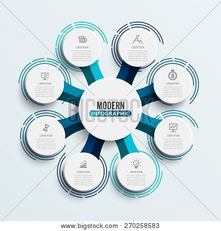 Vector Infographic Template With 3d Paper Label, Circles. Business Concept With 8 Options. For Conte