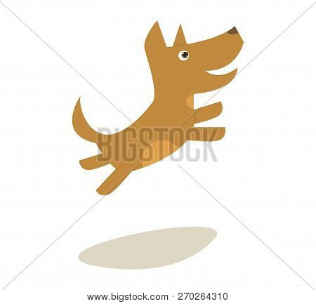 Vector Illustration Cartoon Little Jumping Dog. Image Little Happy Dog Isolated On White Background.