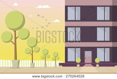 Vector Illustration Courtyard Residential Building. Cartoon Image Part A New House Located With Park