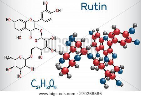 Rutin Molecule (vitamin P). Structural Chemical Formula And Molecule Model. Vector Illustration