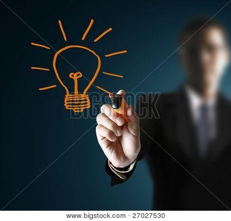 hands,drawing light bulb