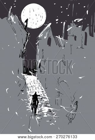 Moonlight Town And Lonely Man - It Is Abstract Drawing And Illustration.