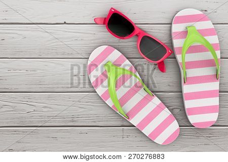 Modern Flip Flops Sandals With Pink Sunglasses On A Wooden Floor. 3d Rendering
