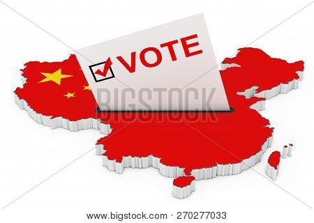 Voting In China Concept. Voting Card Half Inserted In Ballot Box In Shape Of China Map With Flag On