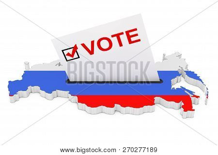 Voting In Russia Concept. Voting Card Half Inserted In Ballot Box In Shape Of Russian Map With Flag