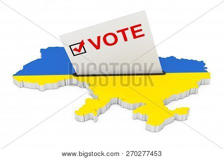 Voting In Ukraine Concept. Voting Card Half Inserted In Ballot Box In Shape Of Ukraine Map With Flag