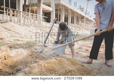 Boys Labor Work In The Construction Site,  Against Child Labor, Poor Children,  Construction Work, V