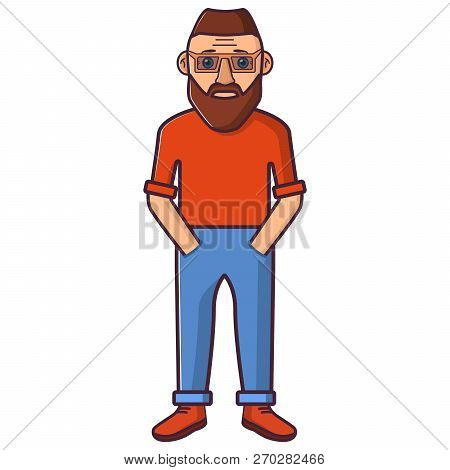 Young Happy Man In A T-shirt And In Trousers And Sneakers.the Person In Casual Clothes In Line Art F