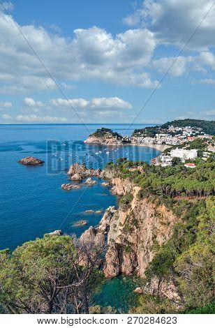 Coastline And Village Of Tossa De Mar At Costa Brava,catalonia,mediterranean Sea,spain