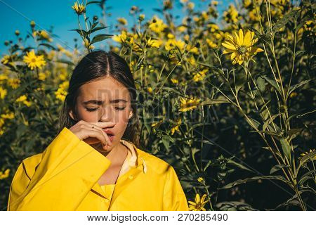 The Girl Suffers From Pollen Allergy During Flowering And Uses Napkins. Young Woman Got Nose Allergy