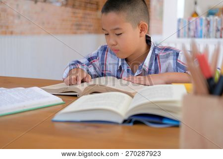 Young Little Asian Kid Boy Child Children Schoolboy Studying Reading Book. Childhood Education