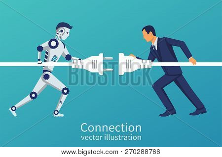 Business And Robot Connection. Symbol Of Working Together, Cooperation, Partnership. Future Collabor