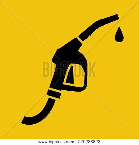 Fuel Pump Icon Black Silhouette. Petrol Station Symbol. Pictogram Gas Station. Sign Gasoline Pump No