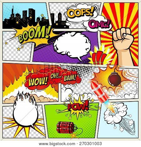 Comics Template. Vector Retro Comic Book Speech Bubbles Illustration. Mock-up Of Comic Book Page Wit
