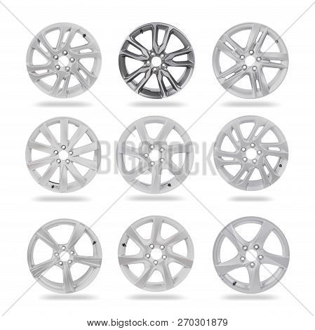 High resolution image of 9 alloy car wheels on white background isolated with clipping path poster