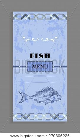 Fish Menu With Ornament And Strip, Bream Or Bass Depiction And Twirl As Decoration Vector Illustrati