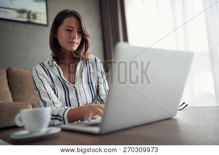 Working home concept – beautiful woman works for a computer from a home with a laptop   as a freelancer