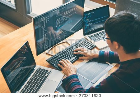 Professional Development Programmer Working In Programming Website A Software And Coding Technology,