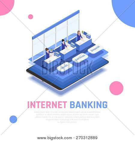 Internet Online Banking Service Isometric Symbolic Composition With Clerks Behind Credit Deposit Cou