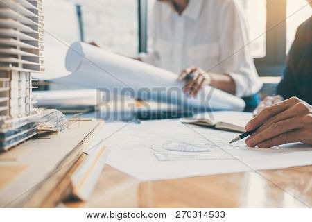 Image Of Engineer Or Architect Partner Meeting For Working With Architectural Project, Drawing And S