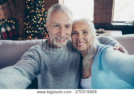 Self-portrait Of Nice Beautiful Charming Lovely Adorable Cheerful Grey-haired Married Couple Husband