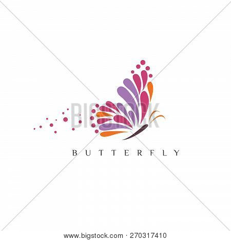 Butterfly. Logo For Beauty Salon With Colorful Butterfly And Text Butterfly. Emblem Template For Bra