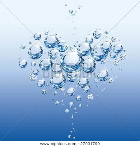 abstract heart on purity water