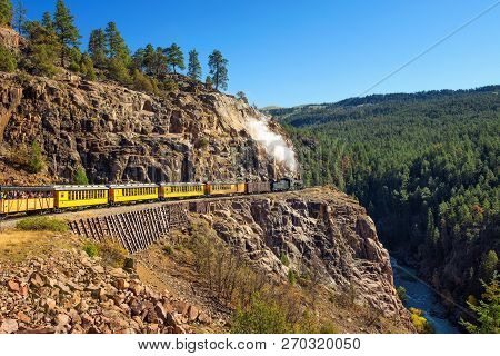 Historic Steam Engine Train Travels From Durango To Silverton Through The San Juan Mountains In Colo