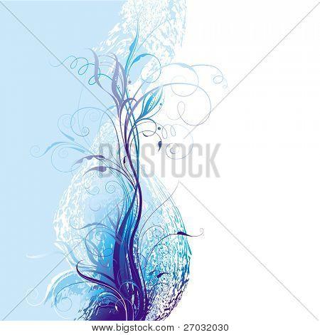 Blue Floral Background, raster version
