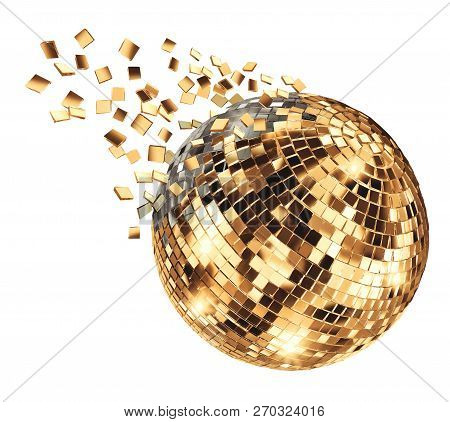 Vintage Disco Mirror Ball Breaking Into Flying Glass Pixel Fragments On White Background