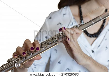 The Musician Flutist Girl Flute Player Isolated Image