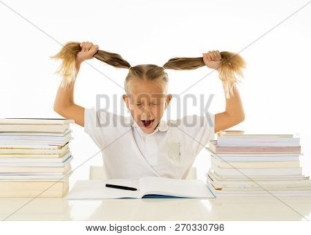Stressed Schoolgirl Overwhelmed With Too Much Homework Hatting Studying And School