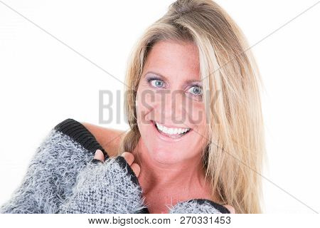 Winter Portrait Of Beautiful 40 Forties Woman Wearing Sweater Autumn Clothes Posing Against White Ba