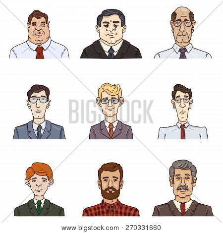 Vector Set Of Business Avatars. Collection Of Cartoon Male Portraits. Office Workers.