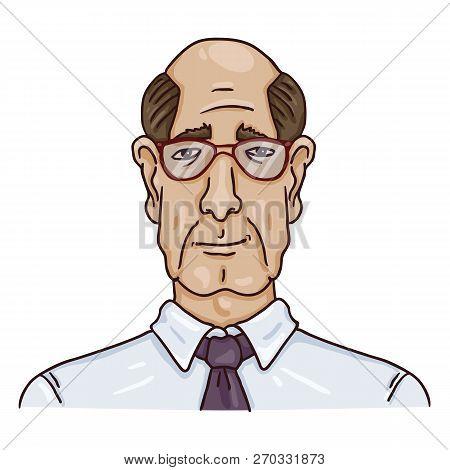 Vector Cartoon Business Avatar - Bald Old Man In Shirt And Eyeglasses.