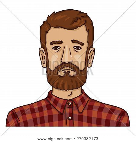 Vector Cartoon Business Avatar - Bearded Man In Checkered Shirt.