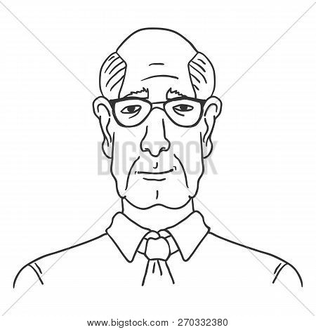 Vector Line Art Business Avatar - Old Bald Man In Shirt And Necktie.